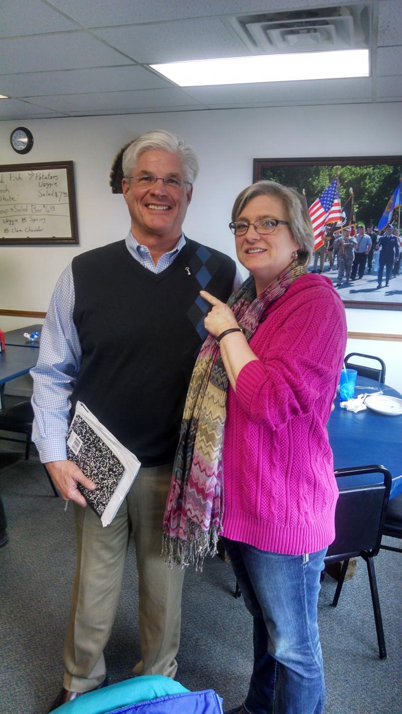 "EMU Student Nita Meyerink ""Pins"" Rep Shirkey w/ his support for a no wait state"